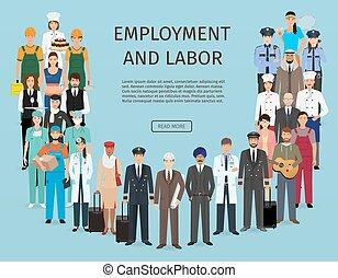 ficar, diferente, grupo, banner., pessoas, trabalho, junto., caráteres, empregado, occupation., emprego, dia