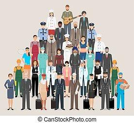 ficar, diferente, grupo, pessoas, trabalhadores, junto., caráteres, empregado, occupation.