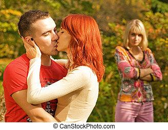 ficar, dof, par, (shallow, foco, jovem, ofendido, fundo, beijando, menina, couple)