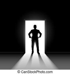 ficar, doorway., silueta, homem