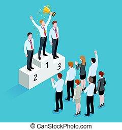 ficar, dourado, isometric, conceito, grupo, segurando, pessoas negócio, sobre, copo, cabeça, vencedor, seu, ter, pedestal, homem, medalha, pessoas., design.