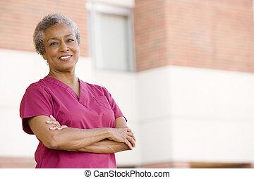 ficar, enfermeira, hospitalar, exterior