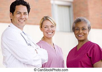ficar, enfermeiras, hospitalar, exterior, doutor