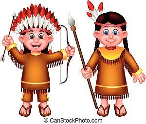 ficar, engraçado, armas, trazer, traje indian, usando, menina, caricatura, rir