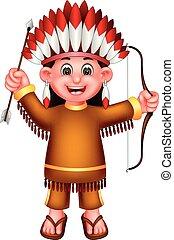 ficar, engraçado, indianas, waving, trazer, arqueiro, rir, menina, caricatura