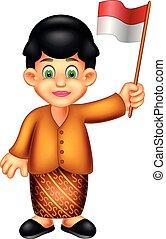 ficar, engraçado, indonésio, trazer, bandeira, sorrizo, menina, caricatura