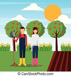 ficar, equipamento, par, jardim, jardineiro