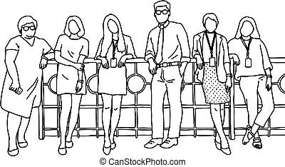 ficar, esboço, doodle, concept., linhas, isolado, ilustração, um, cinco, experiência., vetorial, trabalho equipe, junto, homem negócios, desenhado, branca, mão, mulheres negócios, pretas