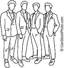 ficar, esboço, macho, negócio, doodle, concept., linhas, isolado, junto, businesspeople, quatro, experiência., vetorial, trabalho equipe, ilustração, desenhado, pretas, branca, mão