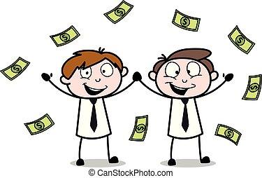 ficar, escritório, dinheiro, -, ilustração, meninos, vetorial, empregado, flutuante, vendedor, caricatura