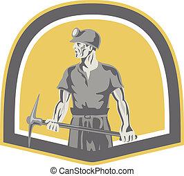 ficar, escudo, machado, mineiro, carvão, retro, segurando, pico