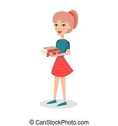 ficar, estudante, dela, personagem, ilustração, caricatura, vetorial, livros, bonito, mãos, menina, segurando