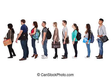 ficar, estudantes, faculdade, multiethnic, fila