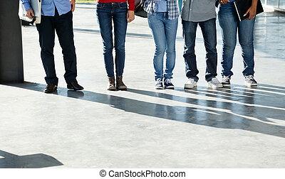 ficar, estudantes, universidade, cidade faculdade universitária, fila