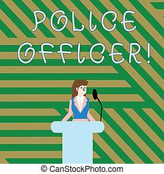 ficar, execução, polícia, officer., executiva, texto, mostrando, equipe, pódio, sinal, sem fios, atrás de, oficial, demonstrar, foto, conceitual, lei, microphone., falando, rostrum
