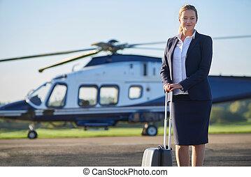 ficar, executiva, helicóptero, retrato, frente