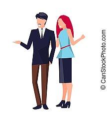 ficar, falando, par, vetorial, ilustração