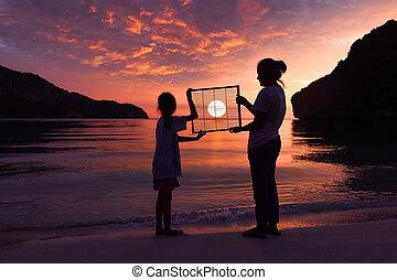ficar, filha, céu, pôr do sol, mãe, praia, vermelho
