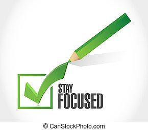 ficar, focalizado, cheque, ilustração, marca