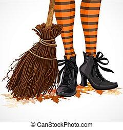 ficar, folhas, dia das bruxas, isolado, botas, closeup, fundo, feiticeira, branca, pernas, caído, cabo vassoura