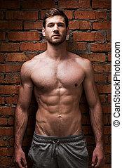 ficar, força, parede, jovem, muscular, enquanto, posar, contra, masculinity., tijolo, bonito, homem
