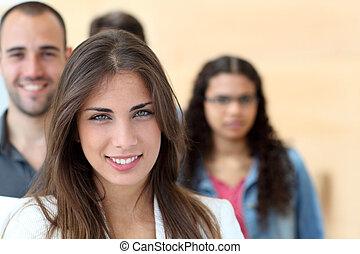 ficar, frente, grupo, estudante, retrato