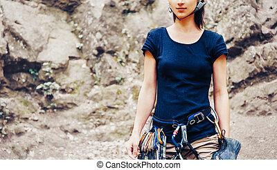 ficar, frente, rock., mulher, escalador