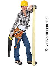 ficar, fundo, carpinteiro, confiante, femininas, branca