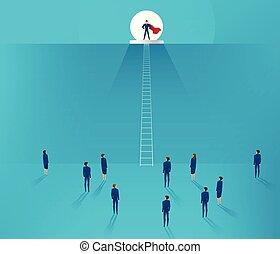 ficar, fundo, concept., liderança, equipe, homem negócios, colina