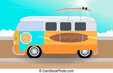 ficar, furgão, surfboards, sea., caricatura, estrada, vec