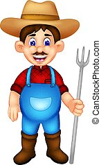 ficar, garfo, trazer, agricultor, sorrindo, caricatura, bonito