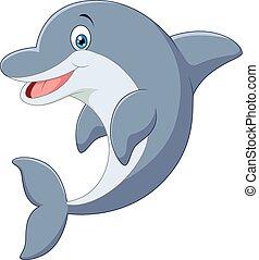 ficar, golfinho, caricatura