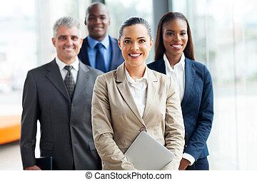 ficar, grupo, businesspeople, junto