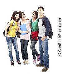 ficar, grupo, estudantes, jovem, junto, asiático, feliz