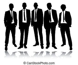 ficar, grupo, homens negócios