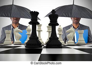 ficar, guarda-chuva, ches, imagem composta, sob, homem negócios