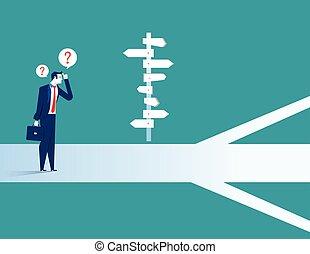 ficar, homem negócios, direção, confundido, sinal