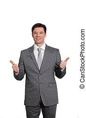 ficar, homem negócios, fundo branco