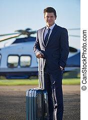 ficar, homem negócios, helicóptero, retrato, frente