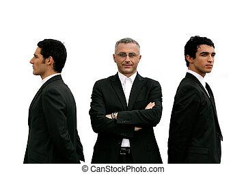 ficar, homens, três, confiante, fundo, branca