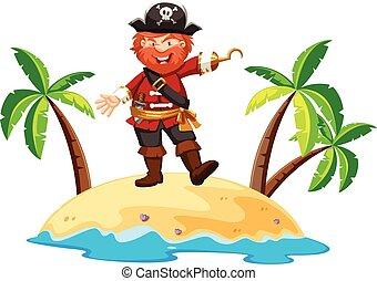 ficar, ilha, pirata