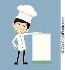 ficar, -, ilustração, cozinheiro, vetorial, desenho, tábua, em branco