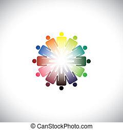 ficar, ilustração, necessidades, gráfico, coloridos, pessoas, abstratos, mãos cima, comunidade, outro, vário, junto., segurando, cada, representa, associando, social