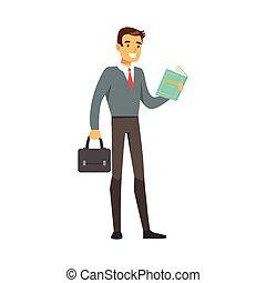 ficar, ilustração, vetorial, homem negócios, sorrindo, livro leitura
