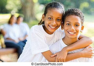 ficar, irmã, irmão, indianas, pais, frente, feliz