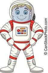 ficar, isolado, astronauta, fundo, branca, caricatura
