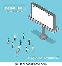ficar, isometric, pessoas negócio, grande, frente, billboard