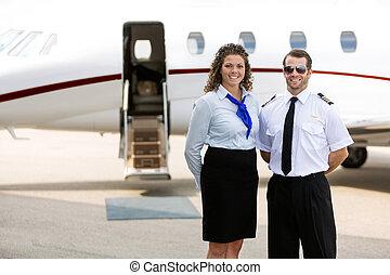 ficar, jato, contra, privado, airhostess, piloto