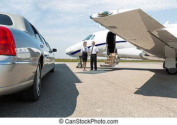 ficar, jato, privado, limpo, airhostess, limusine, piloto
