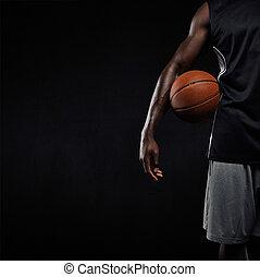 ficar, jogador basquetebol, bola, pretas, cesta